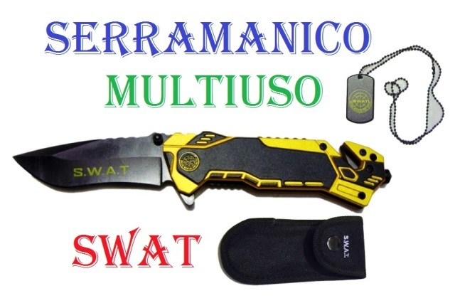 Coltello serramanico multiuso swat - coltello militare giallo multilama dell'unit� antisommossa di polizia special weapons and tactics con fodero e piastrina .