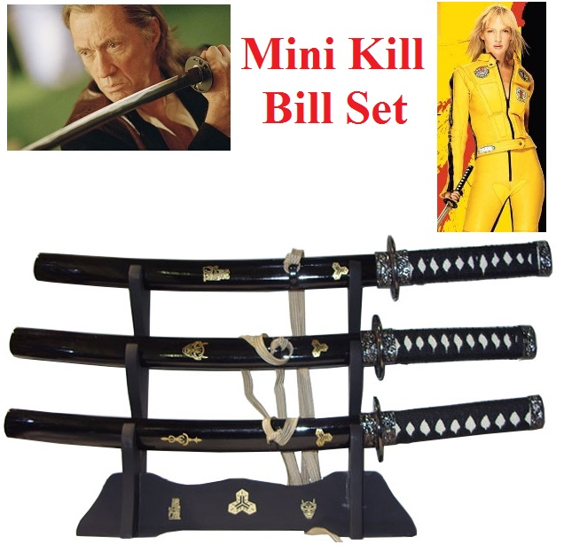 Set mini kill bill - set di tre mini-katane dei film di kill bill - con espositore.