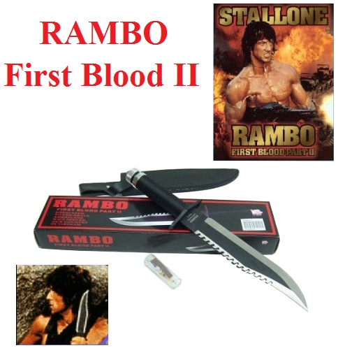Coltello rambo ii (due) la vendetta - coltello militare da sopravvivenza con fodero e kit survivor nell'impugnatura del film rambo first blood part 2.