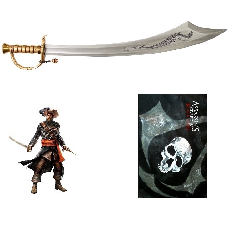 Spada di barbanera con lama incisa per cosplay - sciabola da collezione del pirata edward teach del videogame assassin's creed iv black flag.