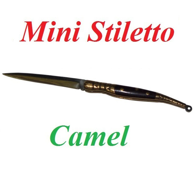 Mini stiletto camel - mini coltello modello stiletto da collezione - replica in miniatura di coltello stiletto con manico in palissandro.