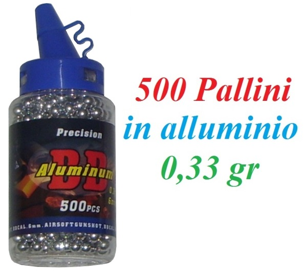 500 pallini in alluminio softair da 0,33 grammi - biberon da 500 pallini in alluminio  per armi softair 6 mm da 0,33 gr.