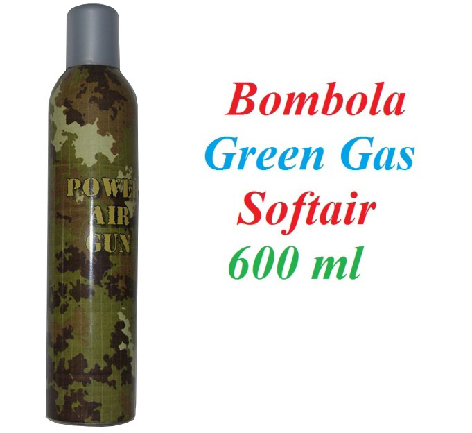 Bombola di gas power air gun per softair - 1 bombola universale di green gas da 600 ml per armi da softair .