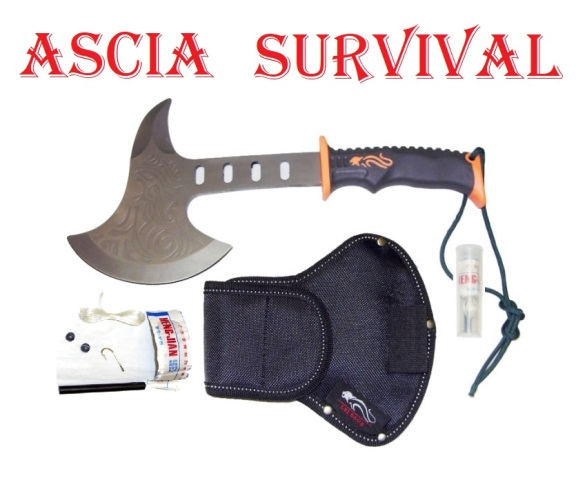 Ascia survival counter strike - ascia tattica con kit di sopravvivenza e fodero.