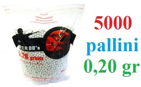 5000 pallini Softair da 0,20 grammi - busta da 5000 pallini per armi softair 6 mm da 0,20 gr