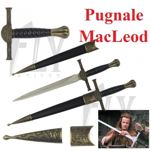Pugnale del clan macleod - coltello scozzese di connor macleod con fodero e scatola espositore dal film highlander .