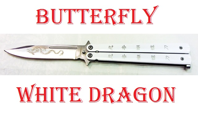 Coltello butterfly white dragon - balisong del drago bianco - coltello a farfalla per arte marziale filippina kali decorato con dragone bianco.