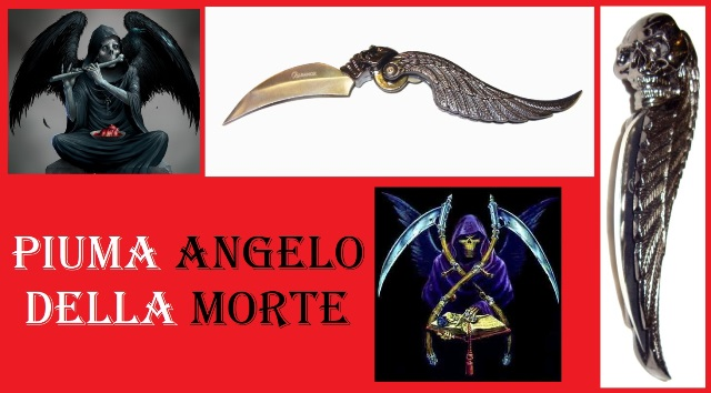 Coltello piuma angelo della morte - serramanico fantasy full metal da collezione feather of death.