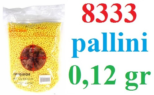 8333 pallini softair da 0,12 grammi - busta da 8333 pallini per armi softair 6 mm da 0,12 gr.