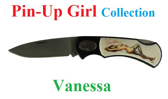Coltello serramanico pin-up girl collection modello vanessa - serramanico serie limitata numerata - marca united.