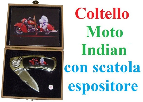 Coltello serramanico Moto Indian con scatola espositore