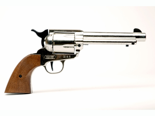Bruni sceriff single action nickel - revolver a salve calibro 380 mm - arma da segnalazione acustica - replica del revolver colt single action army 1873 cromato calibro 45 a retrocarica con canna da 5,5 pollici.