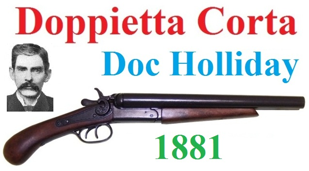 Doppietta corta 1881 doc holiday da collezione -  replica storica inerte di fucile lupara del far west a 2 colpi di doc holiday del 1881 .