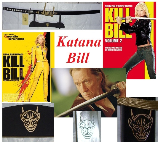 Katana kill bill the sword of bill per cosplay con espositore da tavolo - spada giapponese da collezione di bill del film kill bill  .