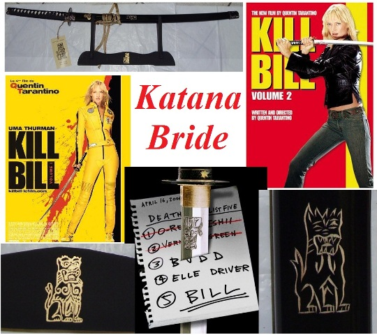 Katana kill bill the bride per cosplay con espositore da tavolo - spada giapponese da collezione di beatrix kiddo del film kill bill .