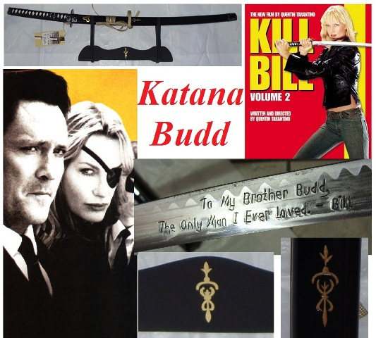 Katana kill bill the brother per cosplay con espositore da tavolo - spada giapponese da collezione di budd gunn del film kill bill .
