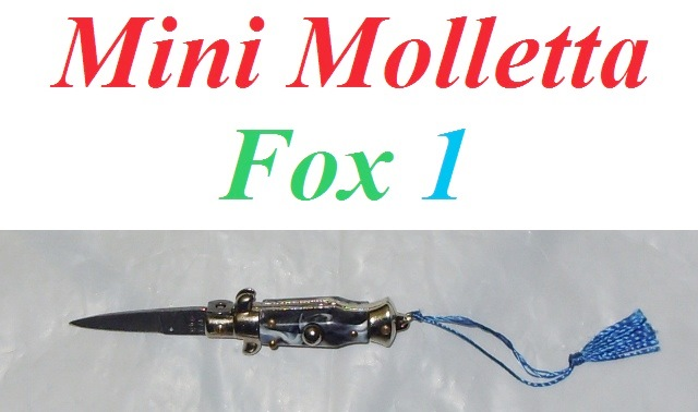 Mini Molletta Siciliana FOX modello 1 con impugnatura in finto corno - mini coltello siciliano da collezione - replica in miniatura di coltello a scatto siciliano