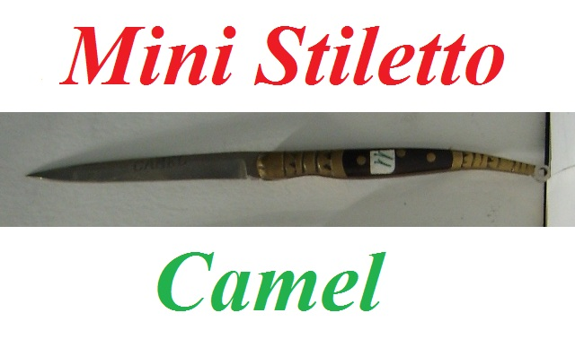 Mini Stiletto Camel - mini coltello modello stiletto da collezione - replica in miniatura di coltello stiletto con manico in palissandro