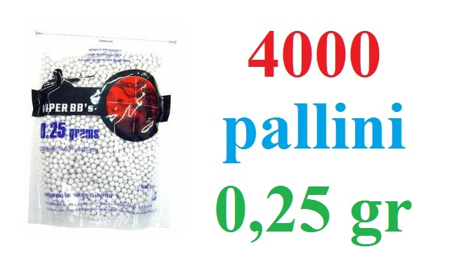 4000 pallini softair da 0,25 grammi - busta da 4000 pallini per armi softair 6 mm da 0,25 gr.