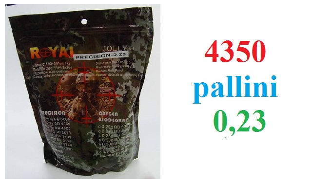 4350 pallini softair da 0,23 grammi - busta da 4350 pallini per armi softair 6 mm da 0,23 gr.