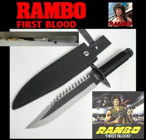 Coltello rambo i (uno) - first blood part  1 - coltello da sopravvivenza con fodero e kit  survivor nell'impugnatura.