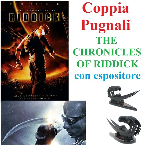 Coppia di pugnali the chronicles of  riddick con espositore da tavolo.