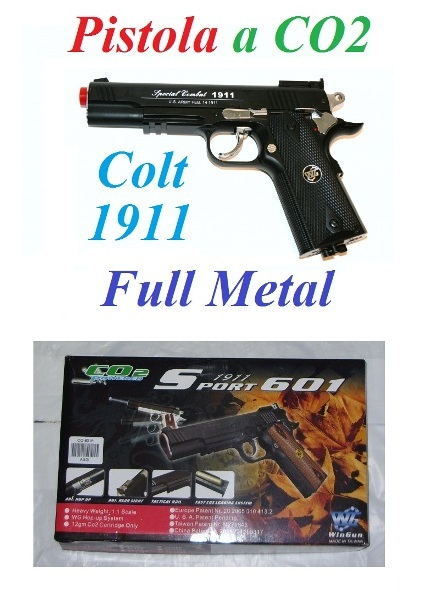 Pistola softair a co2 full metal modello colt 1911 - pistola colt 1911 da softair a co2  in metallo .