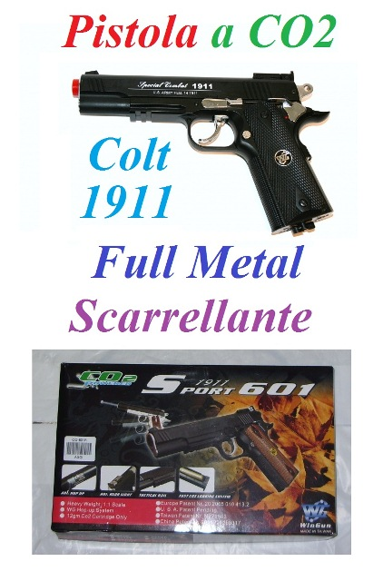 Pistola softair a co2 full metal scarrellante modello colt 1911  - pistola colt 1911 da softair a co2 scarrellante in metallo .