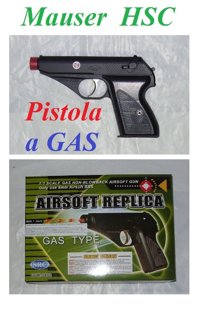 Pistola softair a gas mauser hsc nera - pistola softair modello mauser hsc a gas.