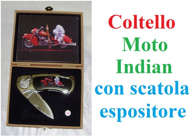 Coltello serramanico moto indian con scatola espositore.